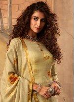 Pashmina Digital Print Green Trendy Salwar Kameez