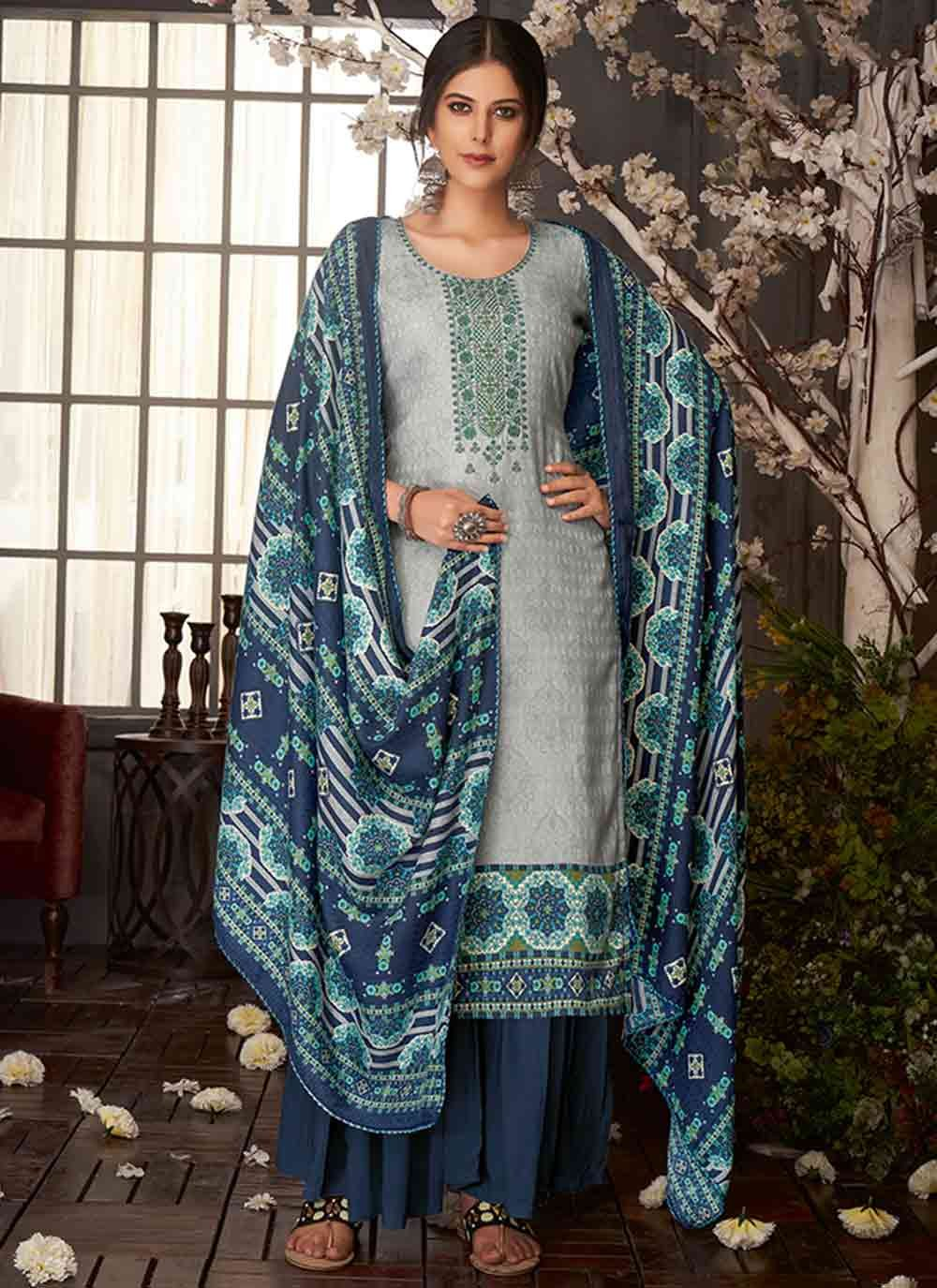 Pashmina Embroidered Blue Salwar Kameez
