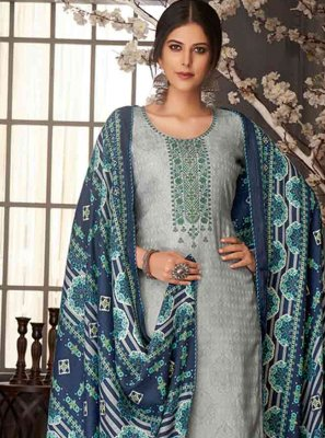 Pashmina Embroidered Blue Salwar Kameez