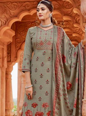 Pashmina Embroidered Trendy Palazzo Suit in Grey