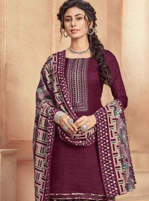 Pashmina Embroidered Wine Salwar Suit
