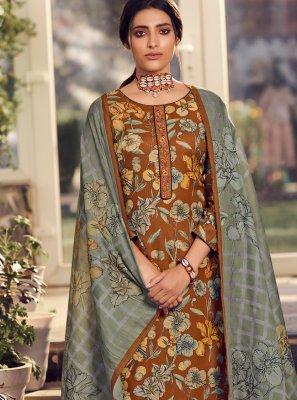 Pashmina Floral Print Multi Colour Salwar Kameez