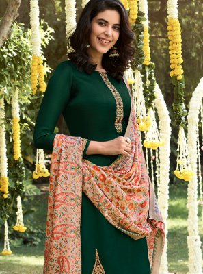 Pashmina Green Embroidered Palazzo Salwar Suit