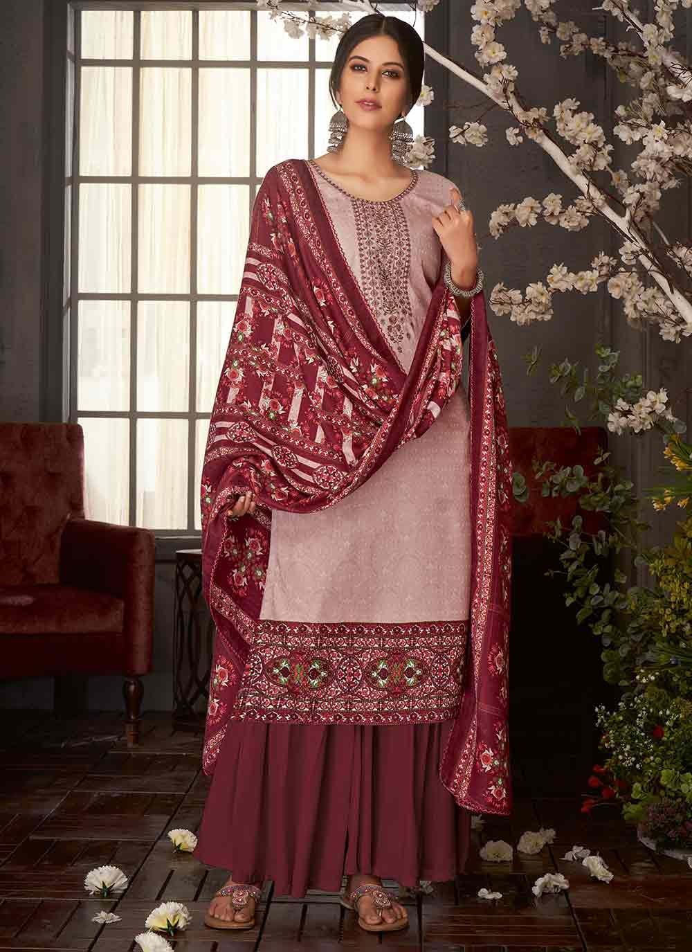 Pashmina Maroon Embroidered Salwar Suit
