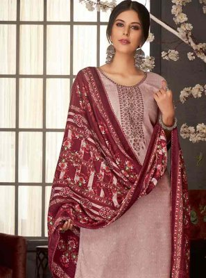 Pashmina Maroon Embroidered Salwar Suit