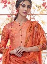 Pashmina Orange Printed Salwar Kameez