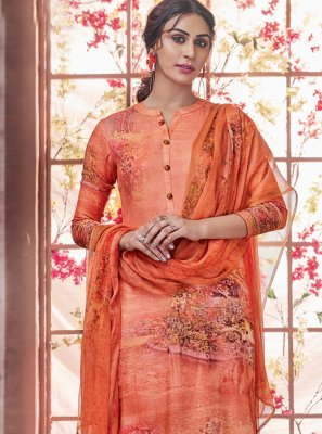 Pashmina Orange Printed Salwar Kameez
