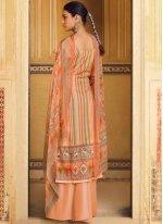 Pashmina Peach Stripe Print Designer Palazzo Salwar Kameez