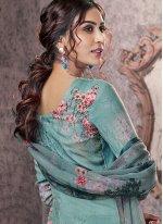 Pashmina Printed Salwar Suit in Grey