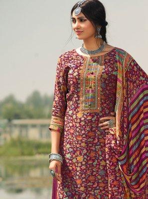 Pashmina Printed Trendy Salwar Kameez in Maroon