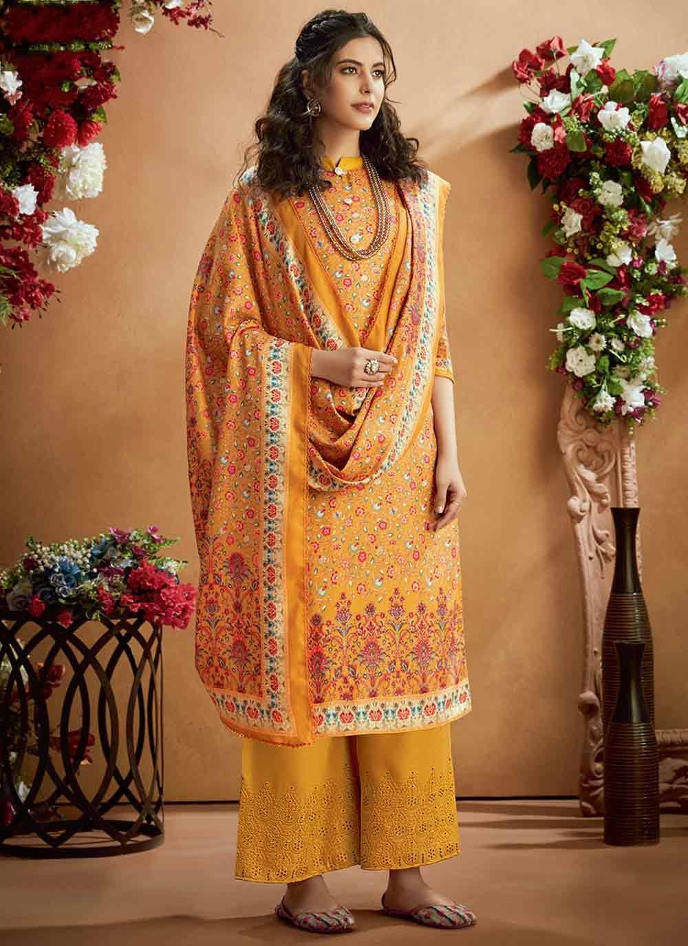 Pashmina Trendy Palazzo Suit in Mustard