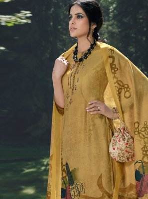 Pashmina Yellow Embroidered Palazzo Salwar Kameez