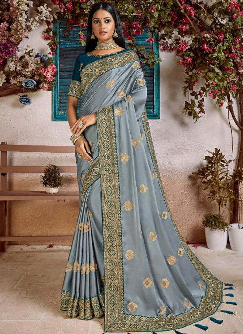 Patch Border Art Silk Designer Traditional Saree in Grey