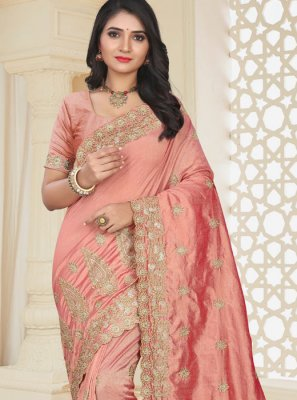 Patch Border Art Silk Pink Classic Designer Saree