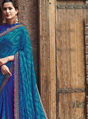 Patch Border Blue Faux Chiffon Shaded Saree