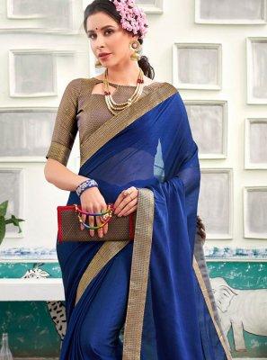 Patch Border Chanderi Classic Designer Saree in Blue