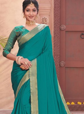 Patch Border Faux Chiffon Blue Traditional Designer Saree