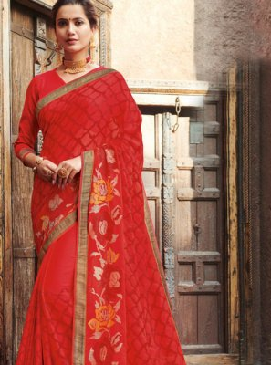 Patch Border Faux Chiffon Red Designer Traditional Saree