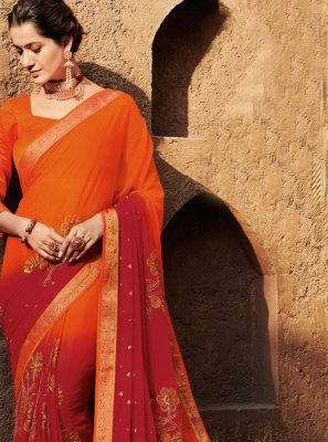 Patch Border Faux Chiffon Shaded Saree in Orange and Red