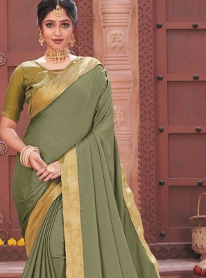 Patch Border Faux Chiffon Traditional Designer Saree in Green