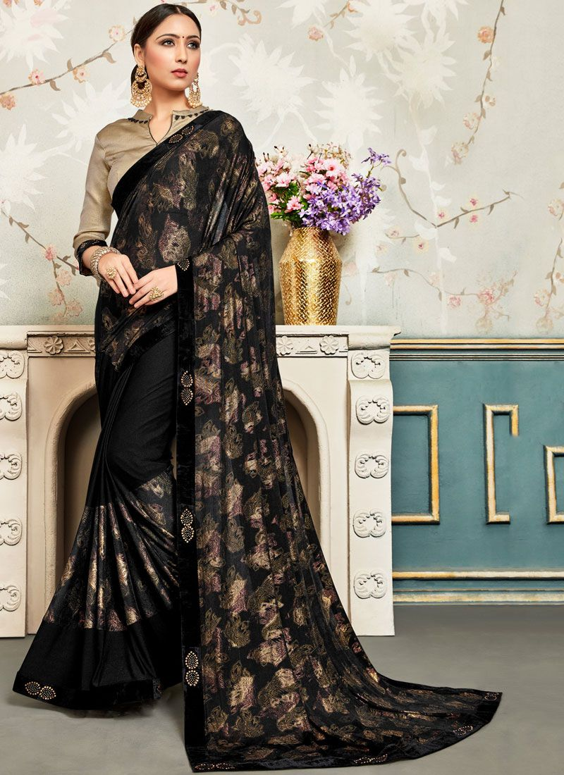 Patch Border Faux Chiffon Traditional Saree in Black