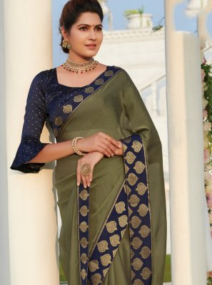 Patch Border Green Casual Saree