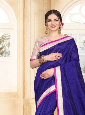 Patch Border Navy Blue Classic Saree