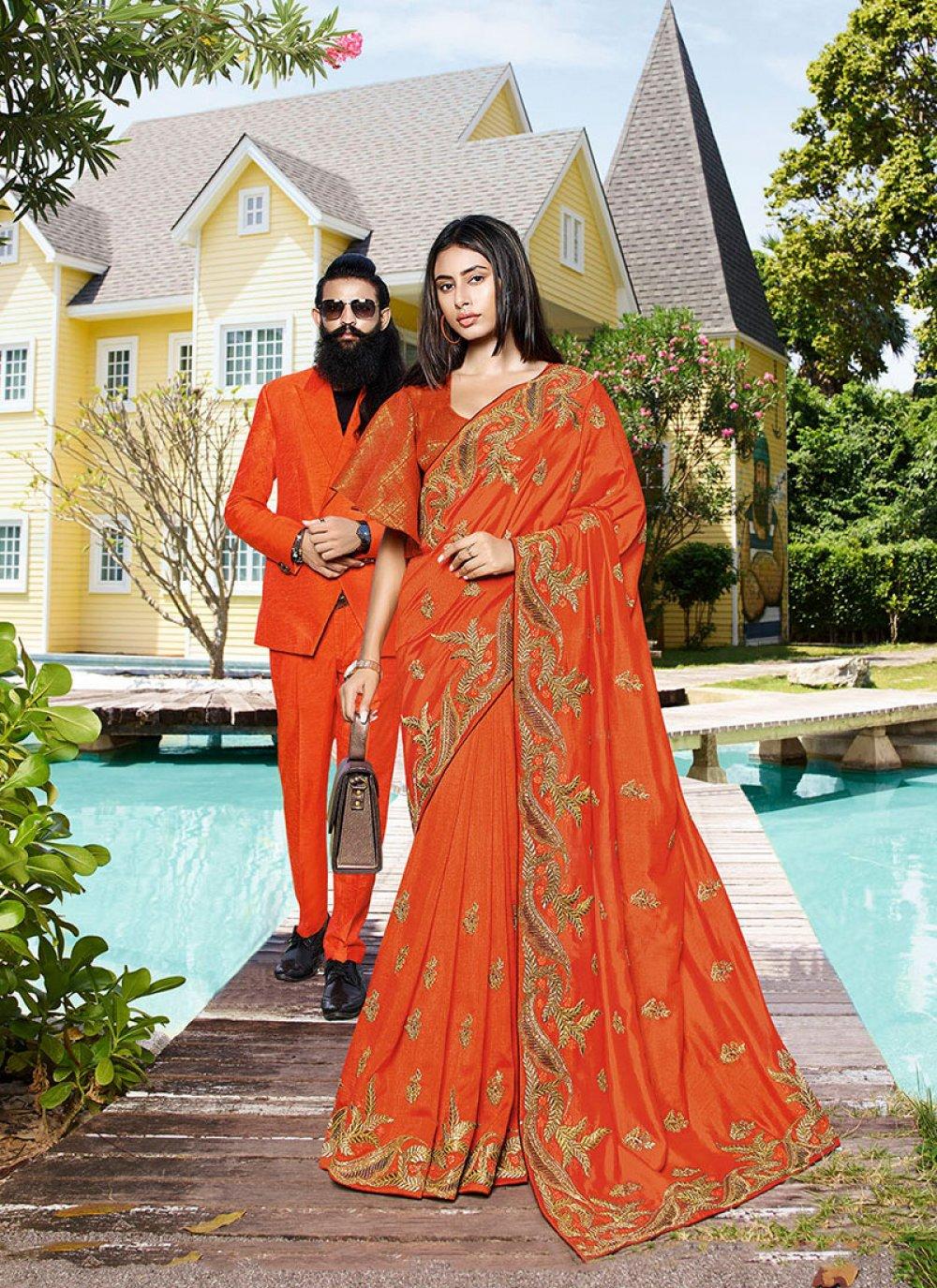 Patch Border Orange Classic Designer Saree
