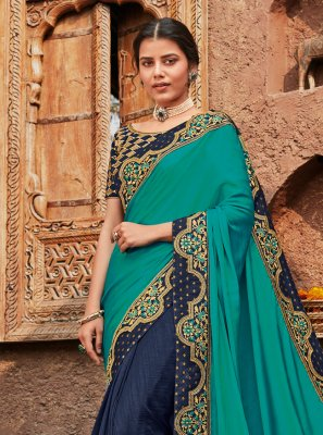 Patch Border Silk Blue Designer Saree