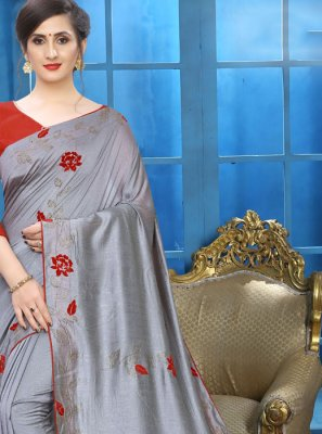 Patch Border Silk Grey Classic Designer Saree
