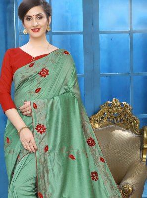 Patch Border Silk Sea Green Designer Traditional Saree