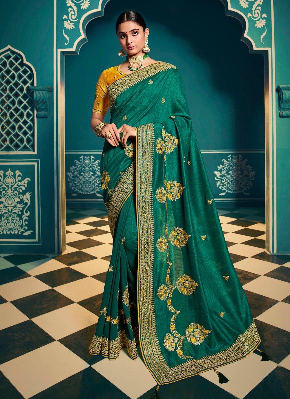 Patch Border Teal Silk Contemporary Saree