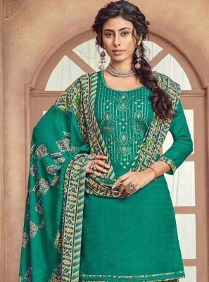 Patiala Salwar Suit Embroidered Pashmina in Sea Green