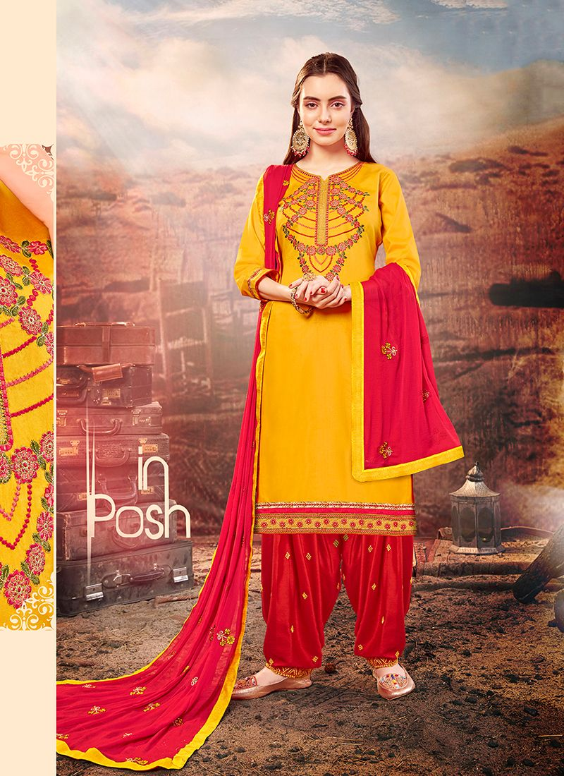 Patiala Suit Embroidered Cotton Silk in Mustard