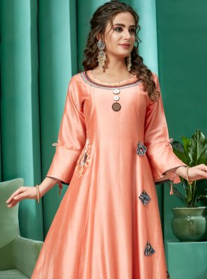 Peach Art Silk Festival Casual Kurti