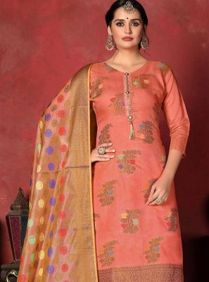 Peach Art Silk Festival Churidar Designer Suit