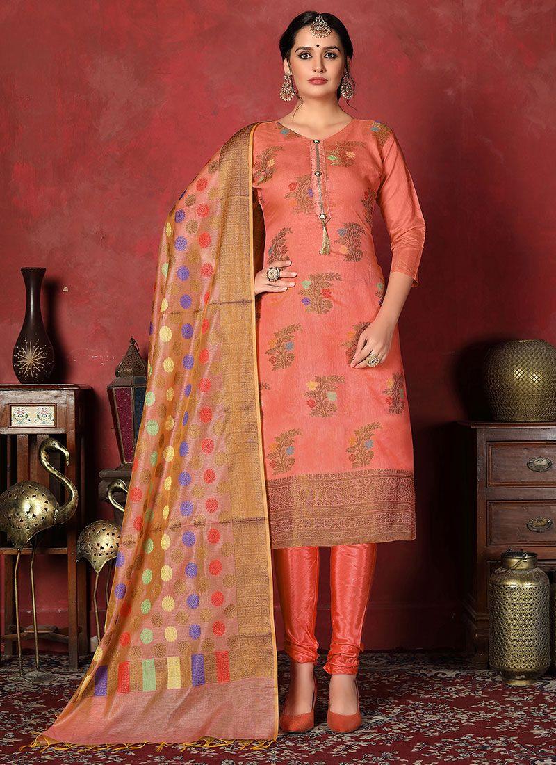 Peach Art Silk Festival Churidar Designer Suit