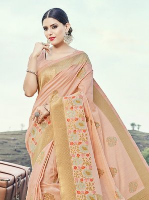 Peach Banarasi Silk Ceremonial Classic Saree