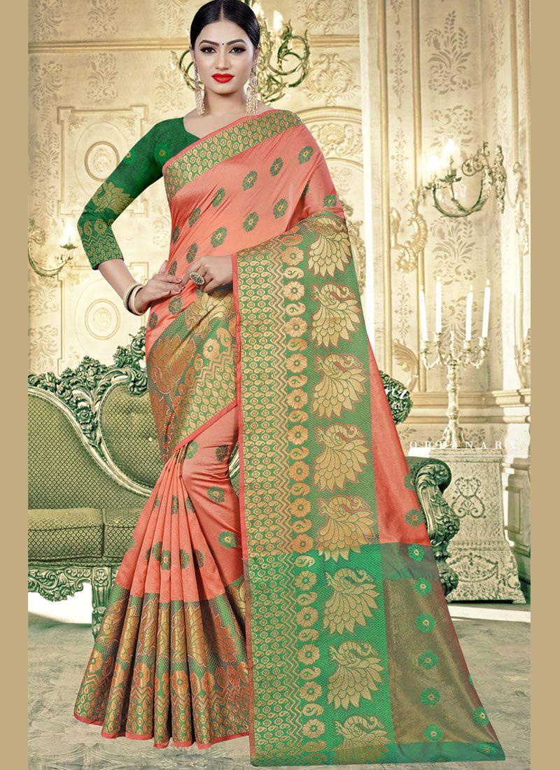 Peach Banarasi Silk Mehndi Classic Saree
