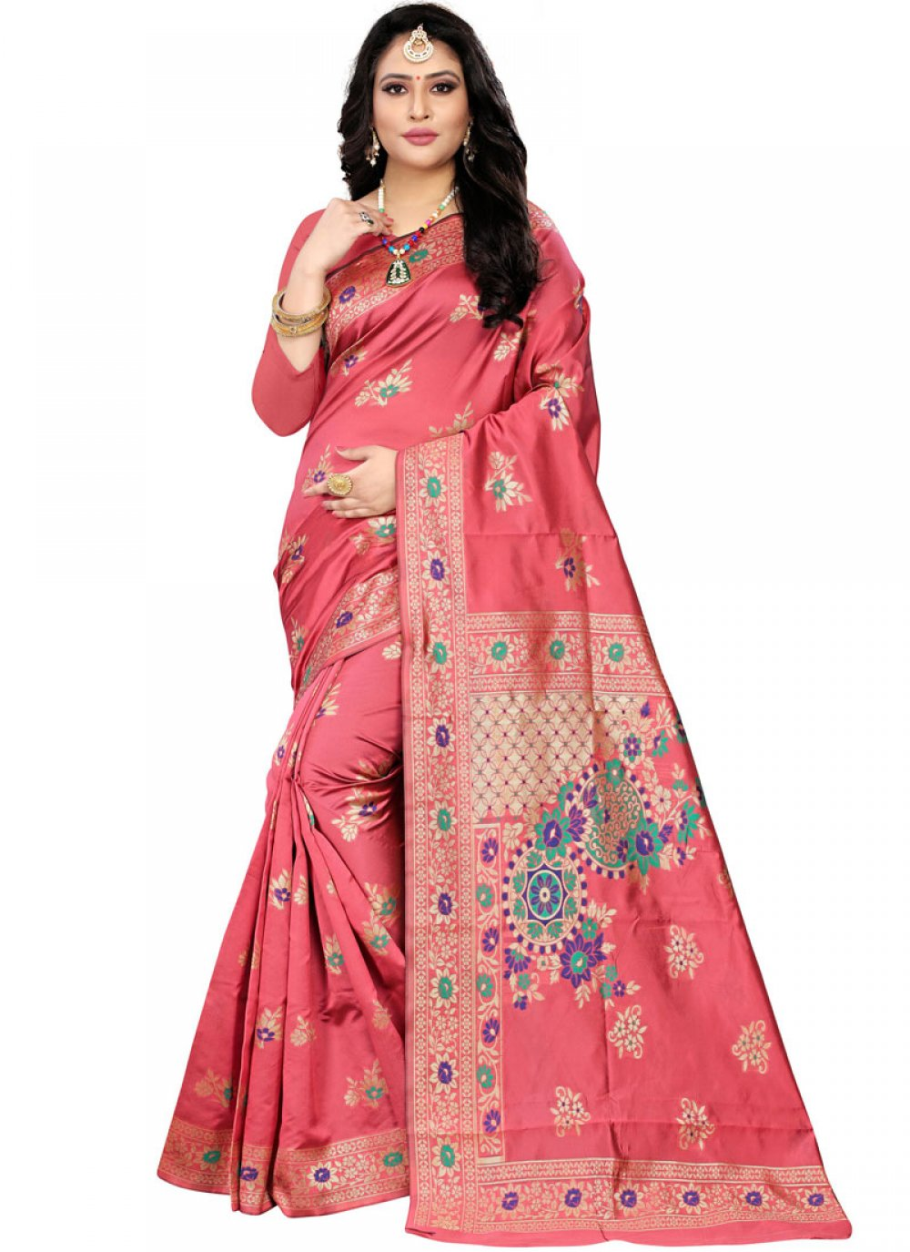 Peach Banarasi Silk Weaving Classic Designer Saree