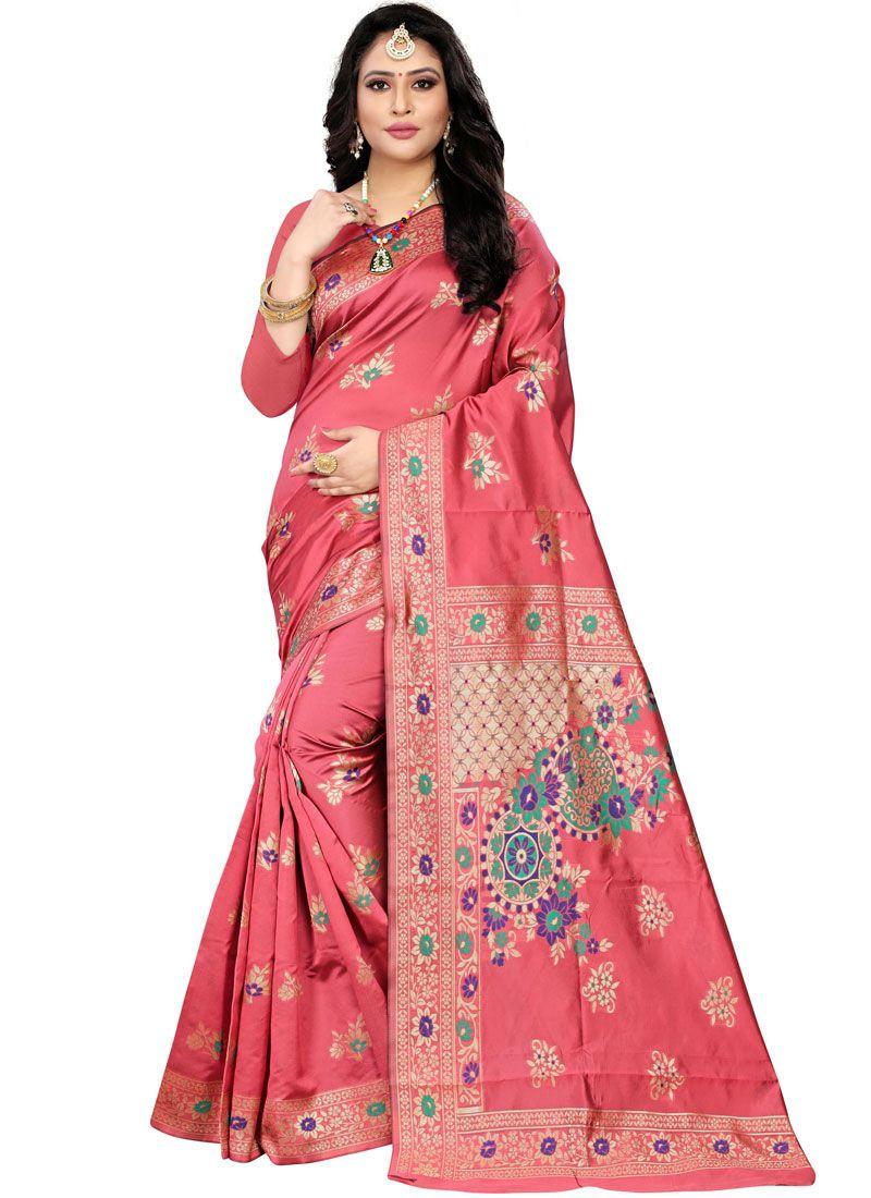 Peach Banarasi Silk Weaving Classic Designer Saree