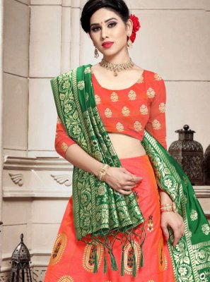 Peach Banarasi Silk Weaving Lehenga Choli