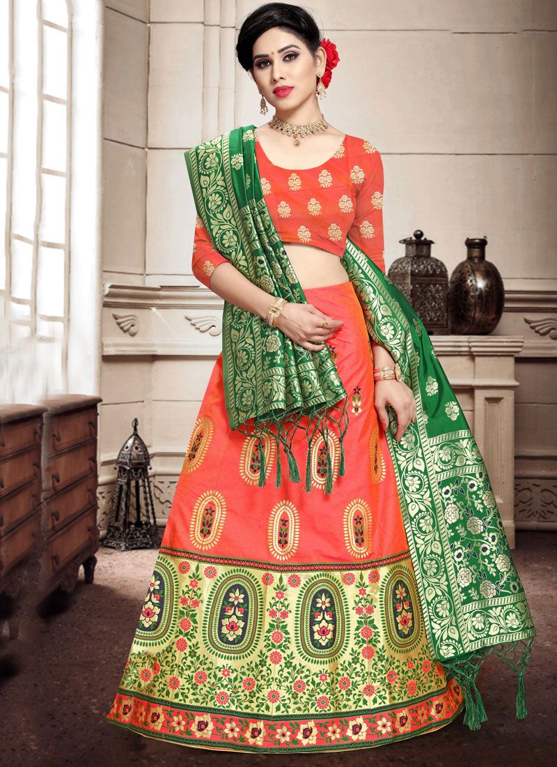 Peach Banarasi Silk Weaving Lehenga Choli