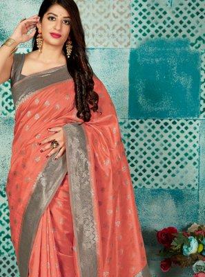 Peach Banarasi Silk Weaving Traditional Saree
