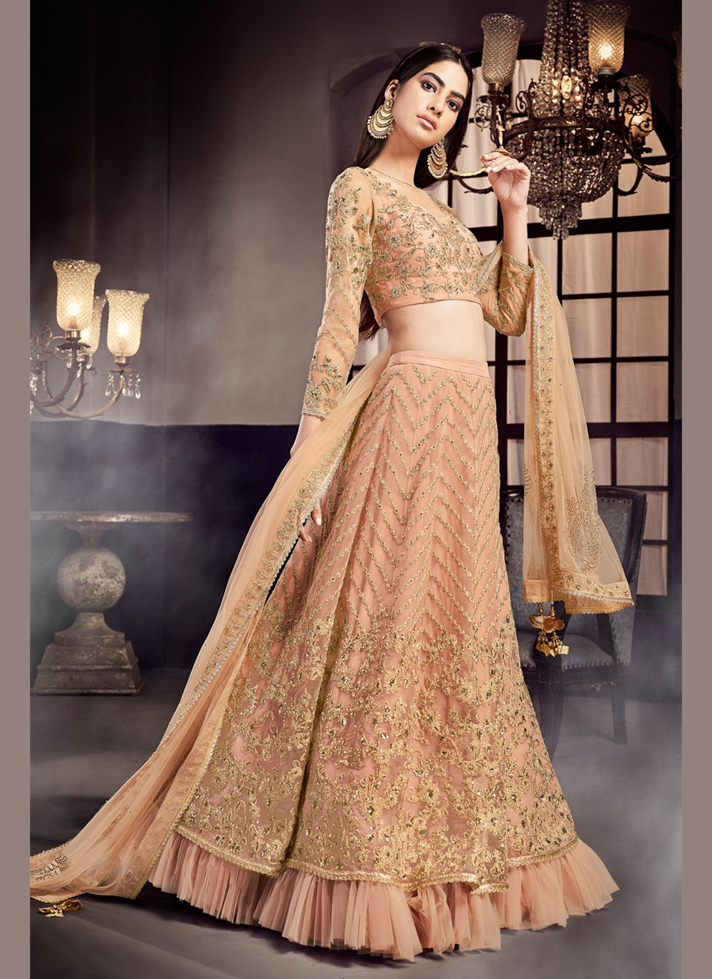 Peach Bridal Lehenga Choli