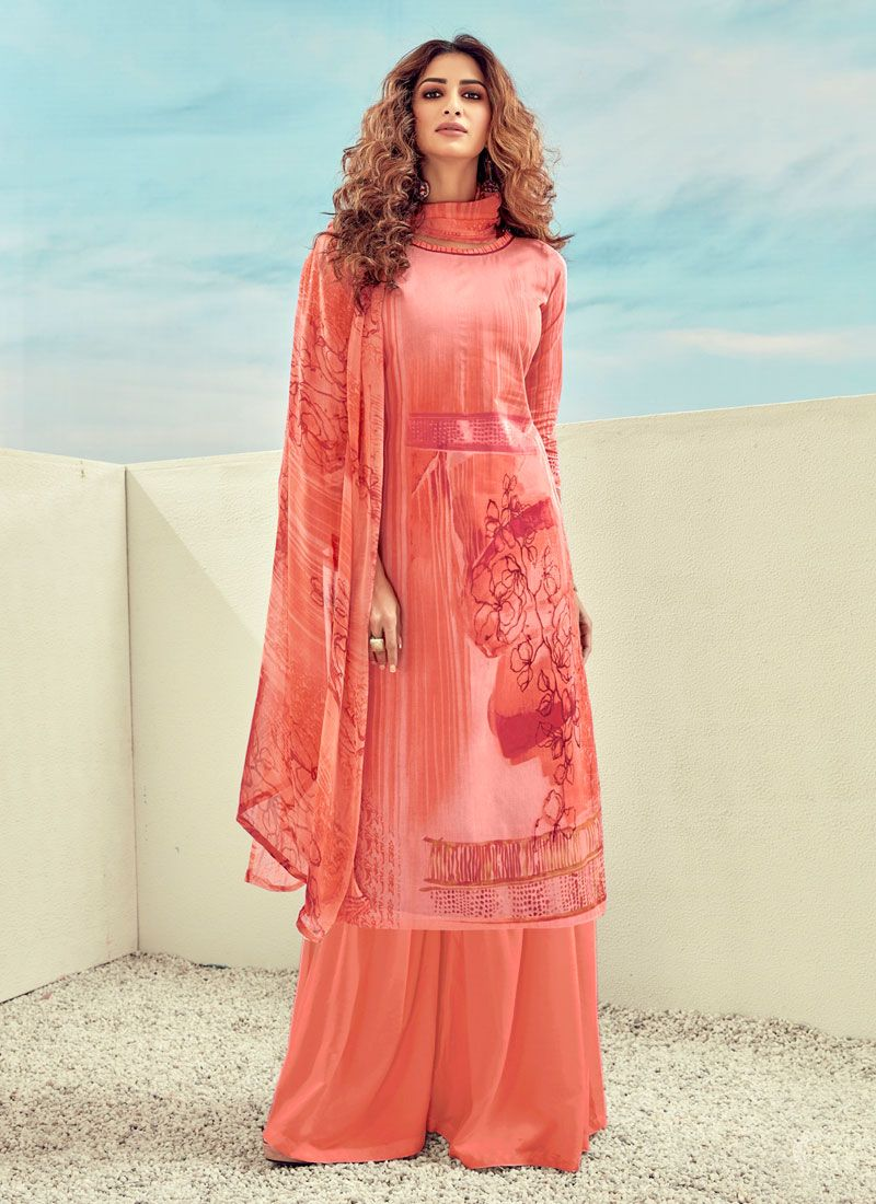 Peach Casual Designer Palazzo Salwar Suit