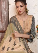 Peach Ceremonial Faux Crepe Designer Pakistani Suit