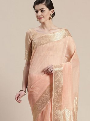 Peach Ceremonial Linen Classic Saree
