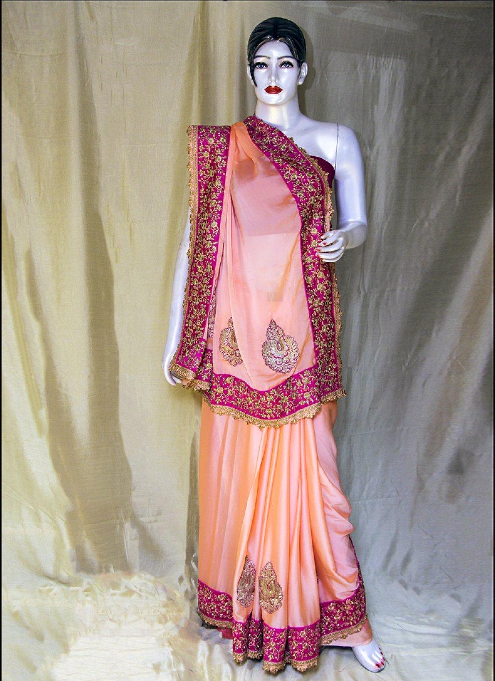 Peach Ceremonial Satin Designer Saree