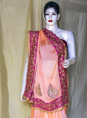 Peach Ceremonial Satin Designer Saree
